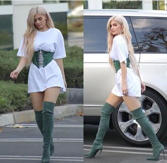 belt corset belt kylie jenner green black and green belted skirt kylie jenner dress suede dress