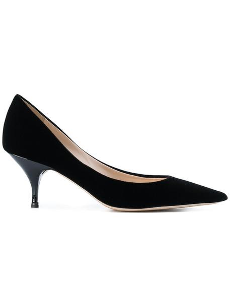 NINA RICCI heel women pumps leather black velvet shoes
