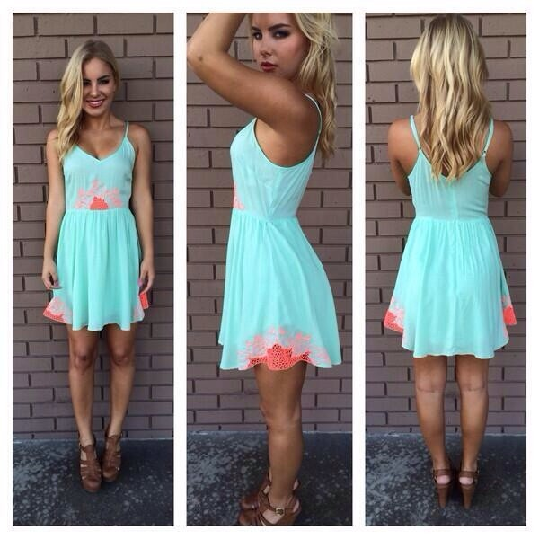 dress turquoise dress mint dress summer dress trendy aqua coral dress