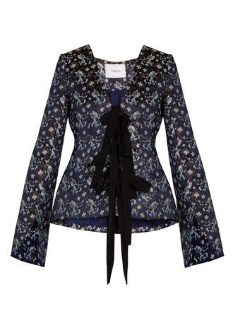 jacket jacquard floral navy print