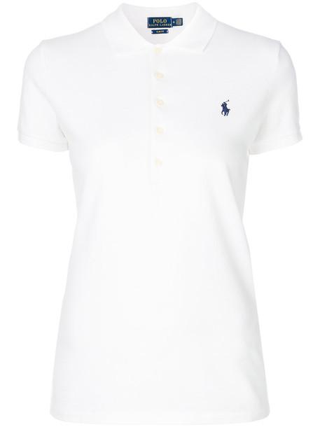 Polo Ralph Lauren shirt polo shirt women spandex fit white cotton top