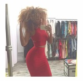 dress,aisha thalia,red gang,fitness baeb,curvaceous curly head,go vegan,proud supporter,305,she motivated me,sending love