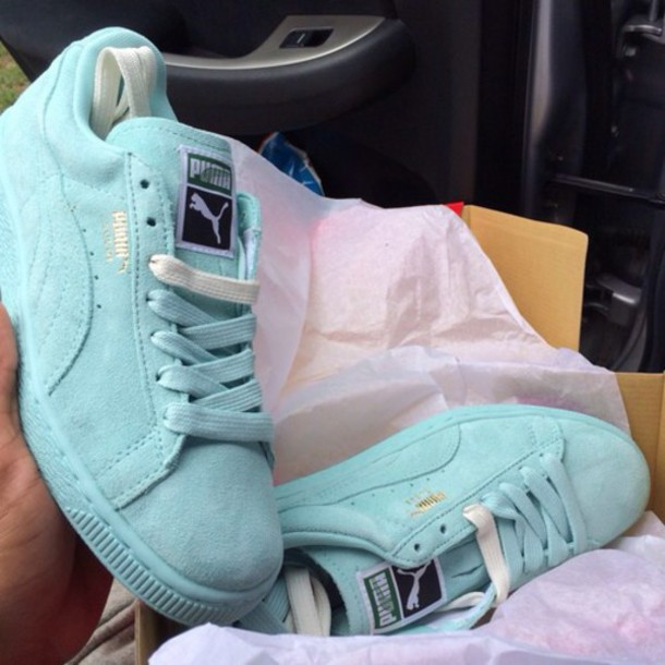pumas, shoes, light blue, puma mint, pastel sneakers, suede
