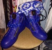 shoes,guiseppe zanotti,blue,sporty,designer,scarf