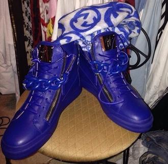 shoes guiseppe zanotti gucci blue sporty trendy designer scarf