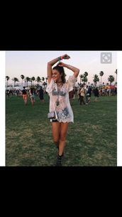dress,cover up,white lace top,see through top,white mesh,top,lace,white,mesh,t-shirt,see through,sheer,t-shirt dress,coachella,shoes,mesh dress,boho dress,costume,white dress,white top,festival looks,free people,festival,festival clothes,festival dress,blouse,lace dress,kimono