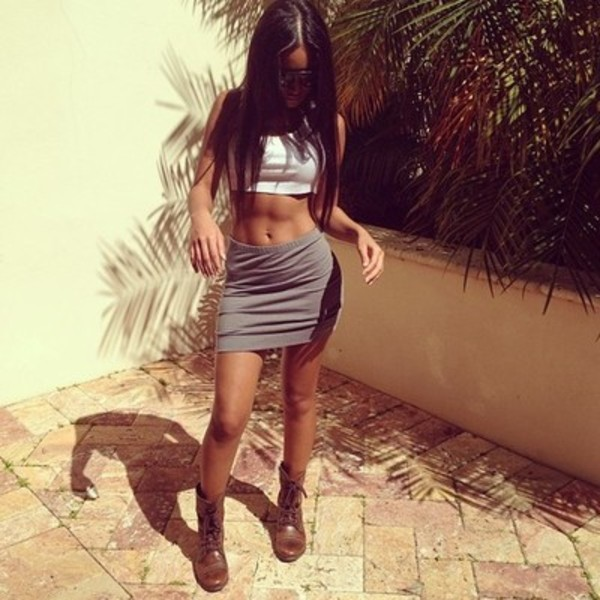 skirt cute fashion swag dope trill fly tank top grey summer sexy