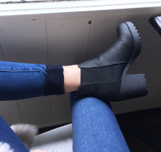shoes chelsea boots black boots booties chunky