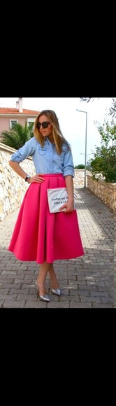 skirt midi skirt full skirt hot pink