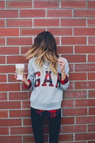 jumpsuit plaid sweater flanel sweater gap sweater grey sweater gap flannel coffee plaid