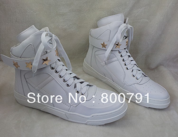2014 New Brand Giv Ankle Boots White Leather Hi Top Sneakers Gold Star Studded Strap Men Fashion Trainers-in Boots from Shoes on Aliexpress.com