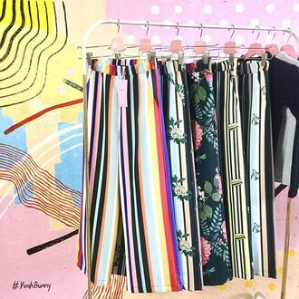 pants yeah bunny colorful summer sun stripes outfit