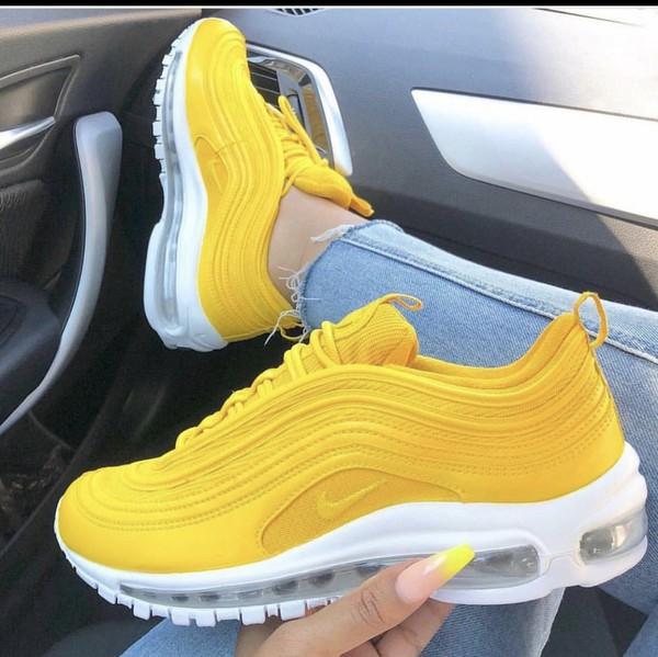shoes yellow shoes nike nike shoes nike running shoes nike sneakers sneakers yellow yellow nike air max Air max 97