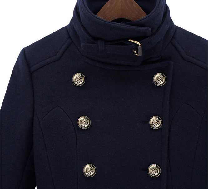 Navy Double Breasted Stand Collar Waistband Slim Wool Coat - Sheinside.com