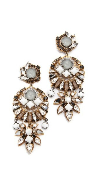 clear earrings gold white jewels