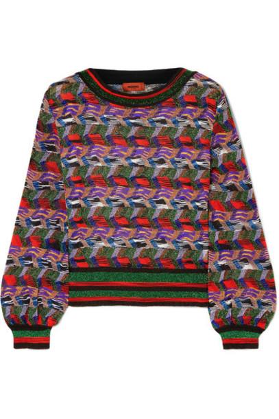 Missoni sweater metallic purple knit crochet