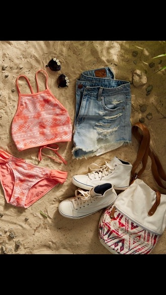 swimwear denim shorts tropical swimwear dope swimwear beach hokusai waves converse high top converse hippie beautiful bag love cute tumblr tumblr girl tumblr bikini tumblr shorts tumblr outfit boho bag
