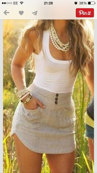 skirt buttons tank top blouse grey skirt white shirt