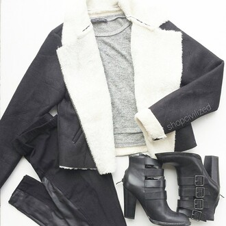 jacket black shearling jacket white shearling coat black coat black jacket white coat