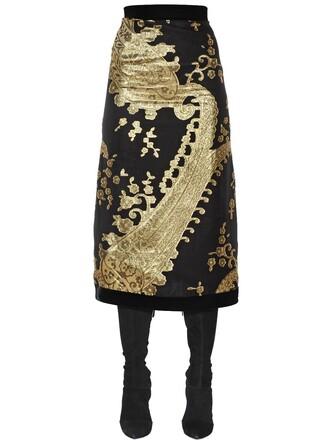 skirt jacquard silk gold black