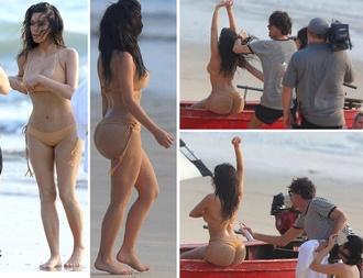 swimwear beige bikini kim kardashian
