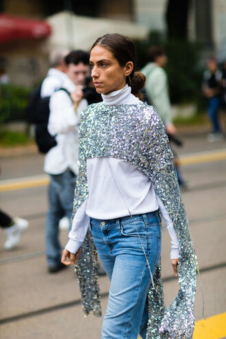 top silver fashion week street style fashion week 2016 fashion week milan fashion week 2016 turtleneck white top denim jeans blue jeans glitter crop tops sequin blouse