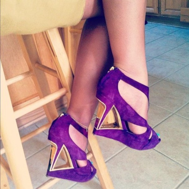 Shoes Heels Wedges Purple Open Toes Around The Ankle Gold