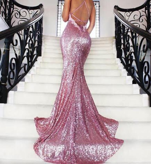 Dress Pink Tight Fitted Prom Sparkly Dress Prom Dress Sparkle