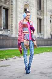 macademian girl,jacket,pants,t-shirt,shoes,bag,scarf,jewels,earmuffs,pink jacket,blue pants,printed pants,printed jacket,pink top,hair accessory,clutch,gloves,colorful,boots,high heels boots