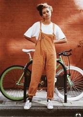 jumpsuit,overalls,cute,pretty,corduroy,orange,salopette,decontracted