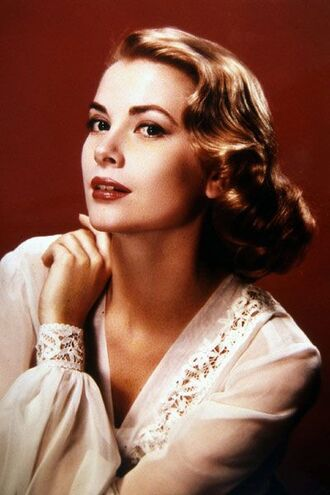 make-up grace kelly white blouse blouse hairstyles red lipstick retro