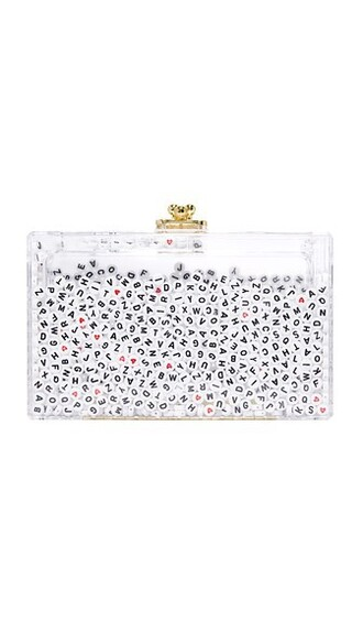 clutch white black red bag