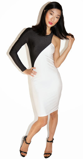 One sleeve black and white bodycon dress