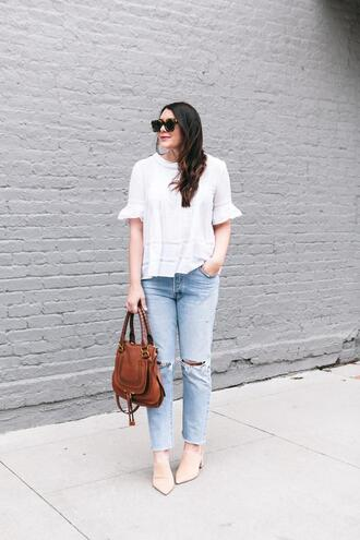kendi everyday blogger shoes blouse white top brown bag spring outfits