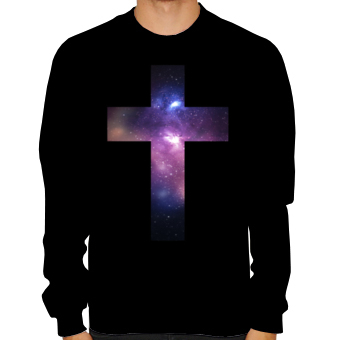 impression sur t shirts galaxy cross croix univers emcee sweatshirt crewneck sweat personnalis s. Black Bedroom Furniture Sets. Home Design Ideas