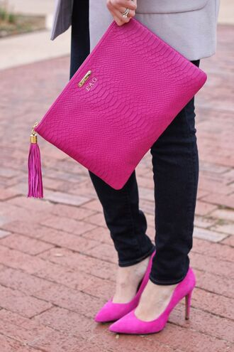 bag hot pink snake skin clutch suede heels handbag