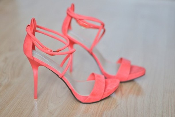 shoes, coral shoes, coral, orange