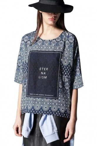 blouse tribal-inspired mosaic graphic top loose blouse