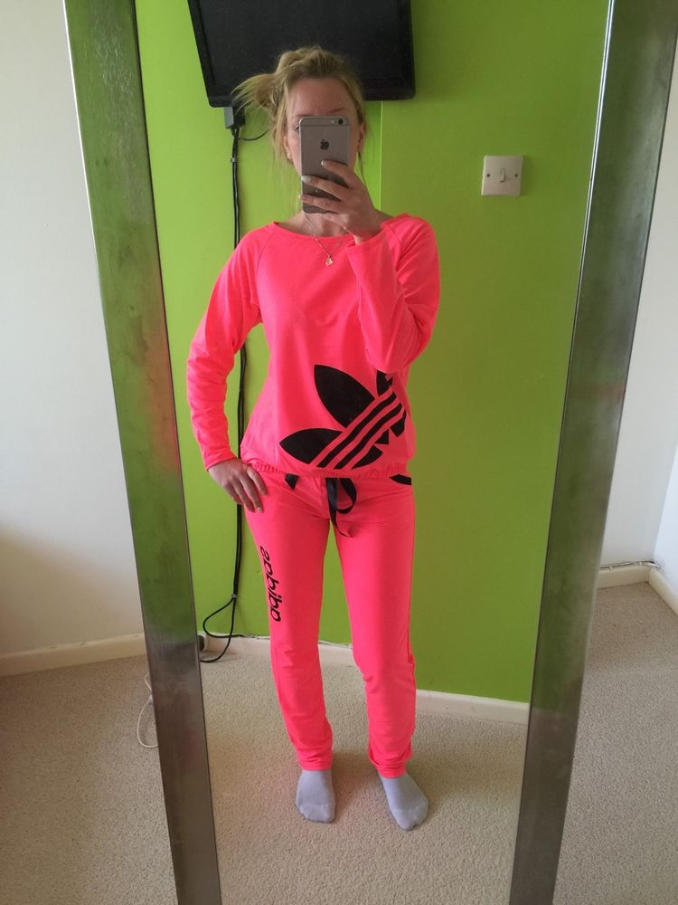 99f9ac35d4b Adidas Neon Ladies Women Tracksuits Pink Small