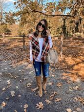 mrscasual,blogger,bag,shoes,t-shirt,brown boots,vest,knee high boots,fall outfits