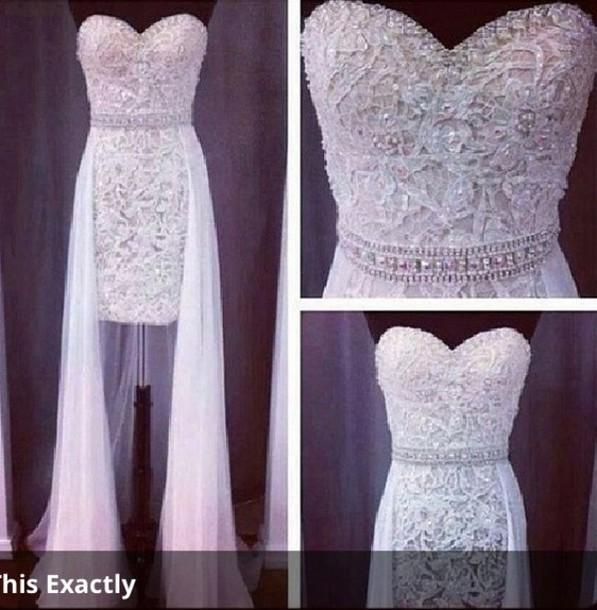 dress sparkle white wedding dress lace wedding dress short dress