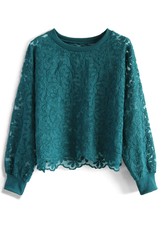 top floral land embroidered mesh top in turquiose chicwish lace