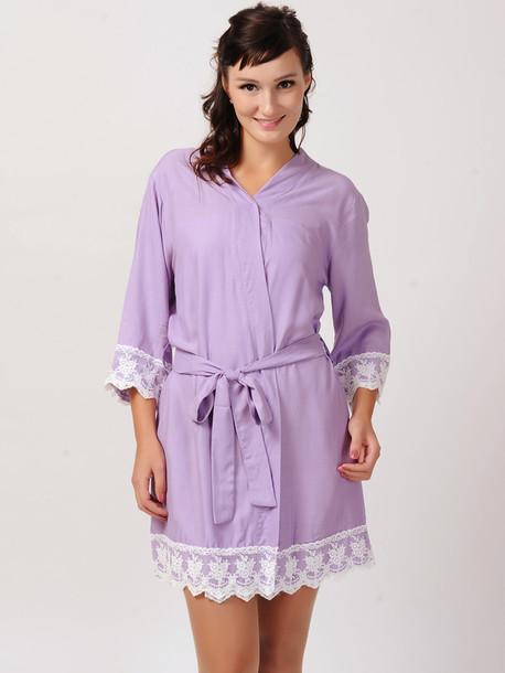 pajamas lavender kimono bridesmaid robe wedding