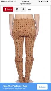 jeans,mcm,brown pants,pants