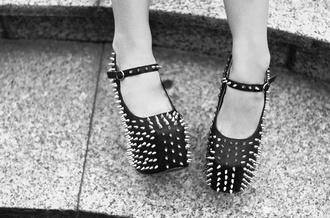 shoes goth spikes black heels black punk heels