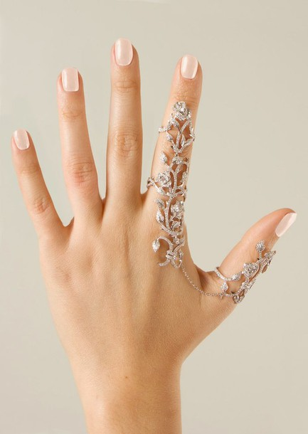 jewels ring jewelry body kandy couture armor ring index finger ring Two finger