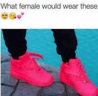 shoes pink nike air force 1 high top sneakers cute dope flawless swag girl hipster nike hightops