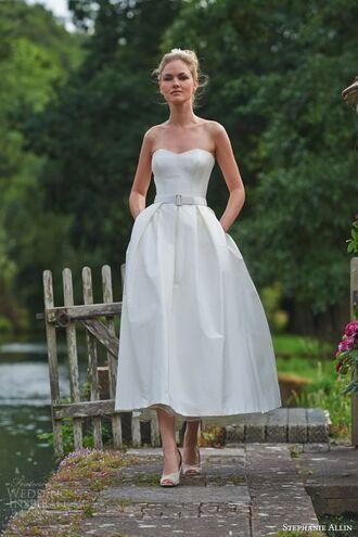 dress wedding dress white wedding dress elegant dress strapless dress bustier dress bustier wedding dress fit and flare dress waist belt white heels midi dress