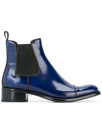 women classic boots chelsea boots leather blue shoes