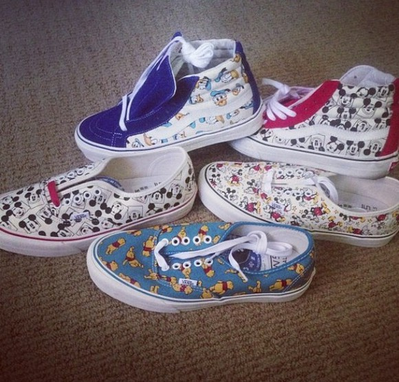 blue shoes vans disney donald duck